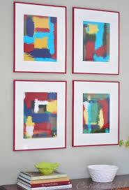 abstract paintings art wall frames red wood painted wonderful concept colorful living roomd decor
