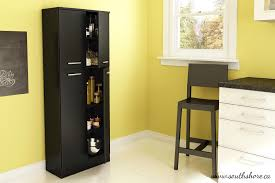 Storage Pantry Cabinet South Shore Fiesta Storage Pantry In Pure Black Home Storage