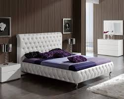 White Leather Bed with Tufting Accent