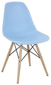 Light Blue Midcentury Modern Plastic Dining Chair 1 Chair