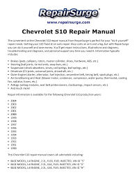 chevrolet s10 repair manual 1990 2004