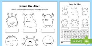 Progressive phonics allinone reading program with free phonics books and free alphabet books. Phase 4 Phonics Name The Alien Worksheet Worksheet