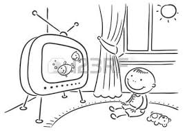 watching tv clipart black and white. happy child watching tv in his room royalty free cliparts, vectors, and stock illustration. image 31895470. tv clipart black white #