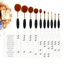 amazon beautycoco oval makeup brush set professional foundation contour concealer blending cosmetic brushes beauty