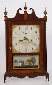 early connecticut wood works 30 hr off center pillar scroll clock made by seth