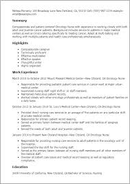 Resume Templates: Oncology Nurse