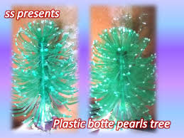 Decorated Plastic Bottles Plastic bottle and pearls show piece SSARTSCRAFTS 75