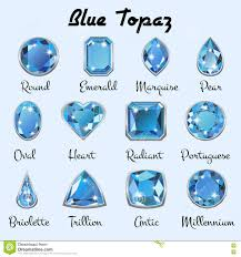 Types Of Light Blue Types Of Cuts Of Blue Topaz Stock Vector Illustration Of
