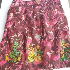 Oilily Pink Camo Embroidered Skirt