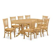 Shop Vanc9 Oak Finish Rubberwood Dining Table And 8 Chairs Free