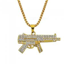 mens iced out gun pendant necklace fashion jewelry for men and women with gold color zinc alloy pendant gun worldwide dx