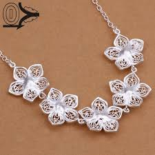 new design whole silver plated necklace pendant fashion jewelry accessories retro hollow snow flower silver necklaces