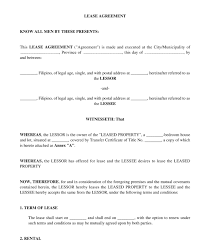 Basic Lease Agreement Residential Lease Agreement Sample Template