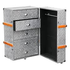 Luggage With Drawers Chaandhi Kar Silver Metal Embossed Luggage Trunk And Drawers