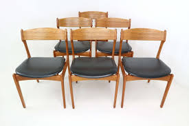 set 6 danish teak dining chairs by erik buch for o d 1960s concept black