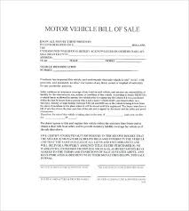 Protect Both Parties With Bill Of Sale Document Car Motor Vehicle ...