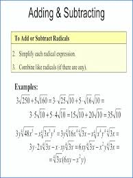 simplifying radicals with variables worksheet addition and subtraction variable worksheets radical expressions rational exponents equations image