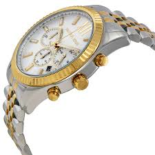 michael kors lexington chronograph white dial two tone men s watch michael kors lexington chronograph white dial twotone mens