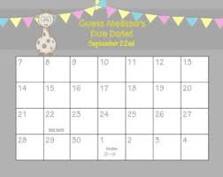 Printable Due Date Calendar Baby Shower Game Guess The Cw