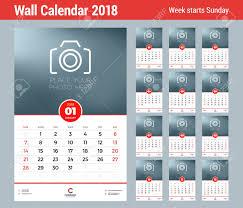 Calender Design Template Wall Calendar Template For 2018 Year Vector Design Template