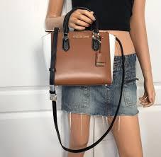 nwt michael kors yn bag leather small tote handbag purse black brown white michaelkors tote