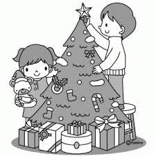 クリスマスツリーのイラスト白黒が斬新しかも無料なんです おや