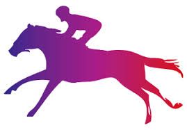 競馬の紫シルエットのフリー素材 大サイズ