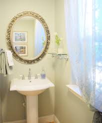 glass pedestal sink powder room traditional with bathroom curtain sheer glass image by centsational girl