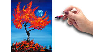 cotton swabs painting fall tree for beginners basic easy step by step