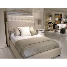 modern upholstered bed. Creme Modern Classic Simple Beige Upholstered Bed - Queen | Kathy Kuo Home T