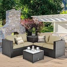 4 pcs outdoor patio rattan furniture