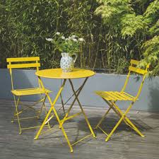 parc yellow metal folding bistro table and chairs set