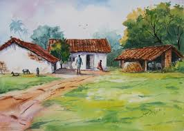 village watercolor paintings by balakrishnan village watercolor paintings