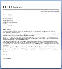 construction manager cover letter sample construction management cover letter