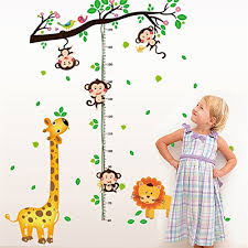 Lkous Chart Height Measurement Growth Chart Tree Monkeys And Animals Nursery Wall Decals Stickers Wall Decal Decor Sticker Removable For Nursery