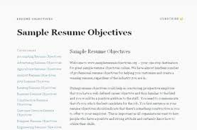 Objectives Resume Career Objective Samples For Resume Objectives