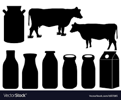 dairy cow silhouette. Brilliant Silhouette Cow Silhouette And Milk Bottles Vector Image Inside Dairy Silhouette S