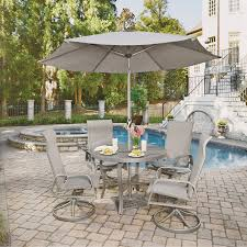 7 piece round outdoor patio dining set daytona