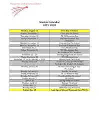 Printable Attendance Calendar 2020 Calendars Miscellaneous Pleasanton Unified School District