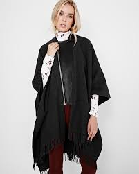 wool blend and vegan leather cape