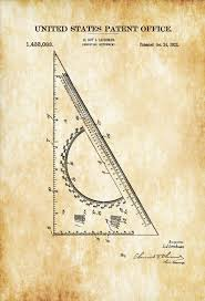 office drawing tools. drafting triangle patent 1922 print wall decor office architect gift drawing tools n