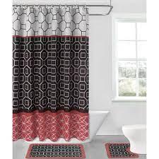 Diamond Red Black 15 Piece Hotel Bathroom Sets 2 Non Slip Bath Mats Rugs Fabric Shower Curtain 12 Hooks Walmart Com Walmart Com