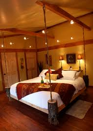 hanging bed with logs