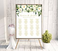 Gold Floral Wedding Seating Chart Sign Poster White Flower Gold Editable Template Printable Diy Pdf Jpeg File 18x24 Or 24x36