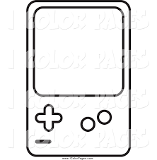 Small Picture Vector Coloring Page of a Lineart Handheld Video Game Device by JR