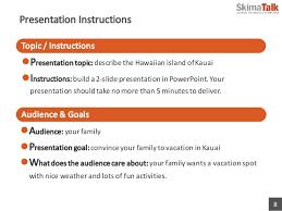 advanced presentation skills lesson  presentation instructions 8 lpresentation topic