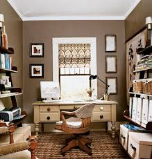 cozy home office. brown white and olive green office cozy home