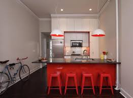 Simply Red Chairs and Grey Countertop for Kitchen Island Ideas