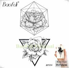 Baofuli Geometric Triangle Black Tattoo Fake Rose Flower Temporary Girls Tattoos Body Art Plant Tatto Sexy Back Arm Chest Makeup
