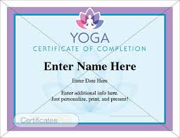 Completion Certificates Yoga Certificate Certificate Of Completion Participation Recognition Achievement Yoga Award Yoga Student Yoga Instructor Gift